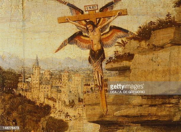 St Francis receiving the stigmata by Jan Van Eyck oil on panel transferred onto canvas 29x34 cm detail Turin Galleria Sabauda