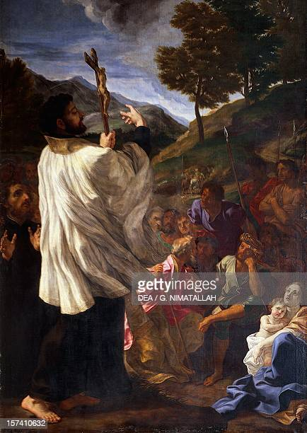 St Francis Xavier preaching by Giovan Battista Gaulli know as Baciccio oil on canvas first chapel on the right Church of Saint Andrew's at the...