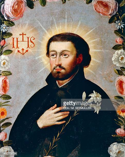 St Francis Xavier surrounded by roses 18th century by an artist of the Cuzco school Cuzco Museo Del Convento De Santa Catalina