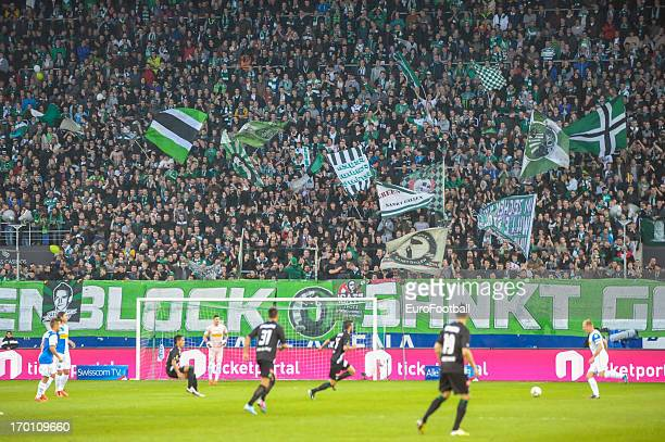 St Gallen supporters during the Swiss Super League match between FC St Gallen and Grasshopper Club held on May 29 2013 at the AFG Arena in St Gallen...