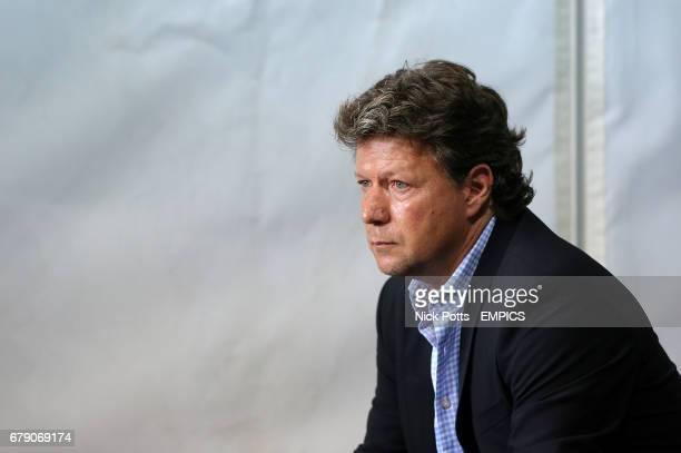 St Gallen's head coach Jeff Saibene takes his seat in the dugout