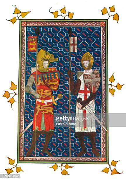 St George and Plantagenet Earl of Lancaster' c1295 Miniature from a medieval manuscript From Social England Volume II edited by HD Traill DCL and J S...
