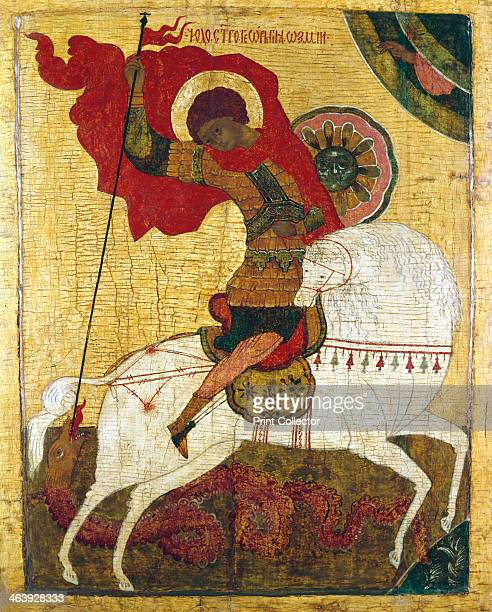 'St George Killing the Dragon' Russian icon St George is the Patron Saint of England and Portugal