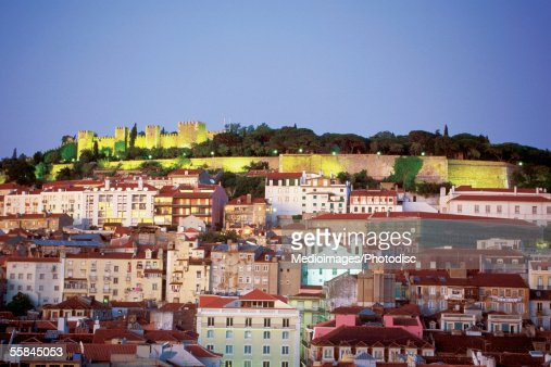 St George's Castle at night, Lisbon, Portugal : Stock Photo