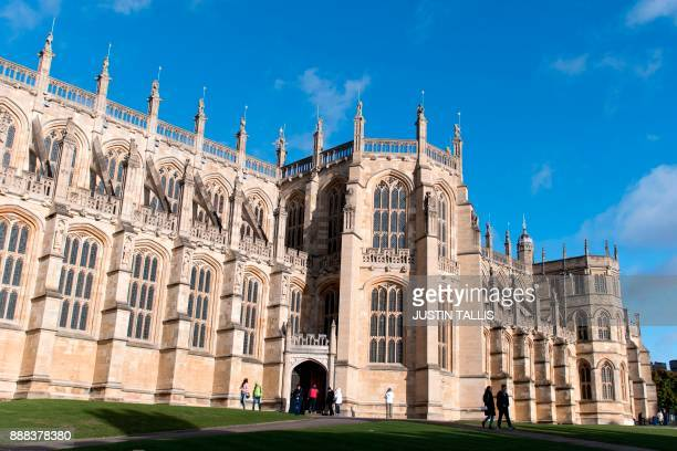 St George's Chapel is pictured in the afternoon sunshine inside the grounds of Windsor Castle in Windsor west of London on December 8 2017 Britain's...