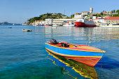 port of st.George's in Grenada- focus on boat
