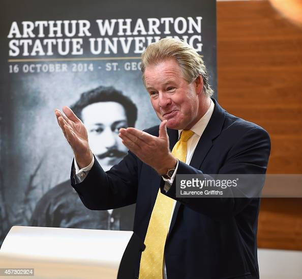 St George's Park chairman David Sheepshanks delivers a speech at the unveiling of the Arthur Wharton Statue at St George's Park on October 16 2014 in...