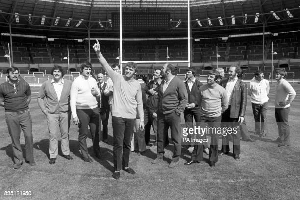 St Helens captain Kel Coslett leads his men in a reconnaissance of the famous Wembley stadium where tomorrow they meet Leeds during the Rugby League...
