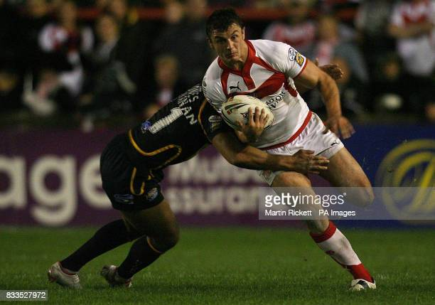 St Helen's Jon Wilkin is tacked by Leeds' Jamie Jones Buchanan during the engage Super League Qualifying SemiFinal at Knowsley Road