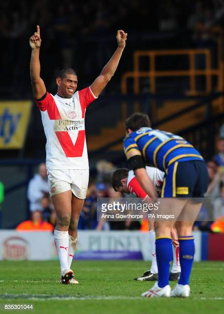 St Helens' Leon Pryce celebrates at the final whistle of the Carnegie Challenge Cup match at Headingley Carnegie Leeds