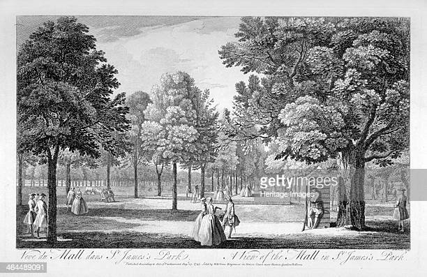 St James's Park Westminster London 1745 View of figures walking in the Mall