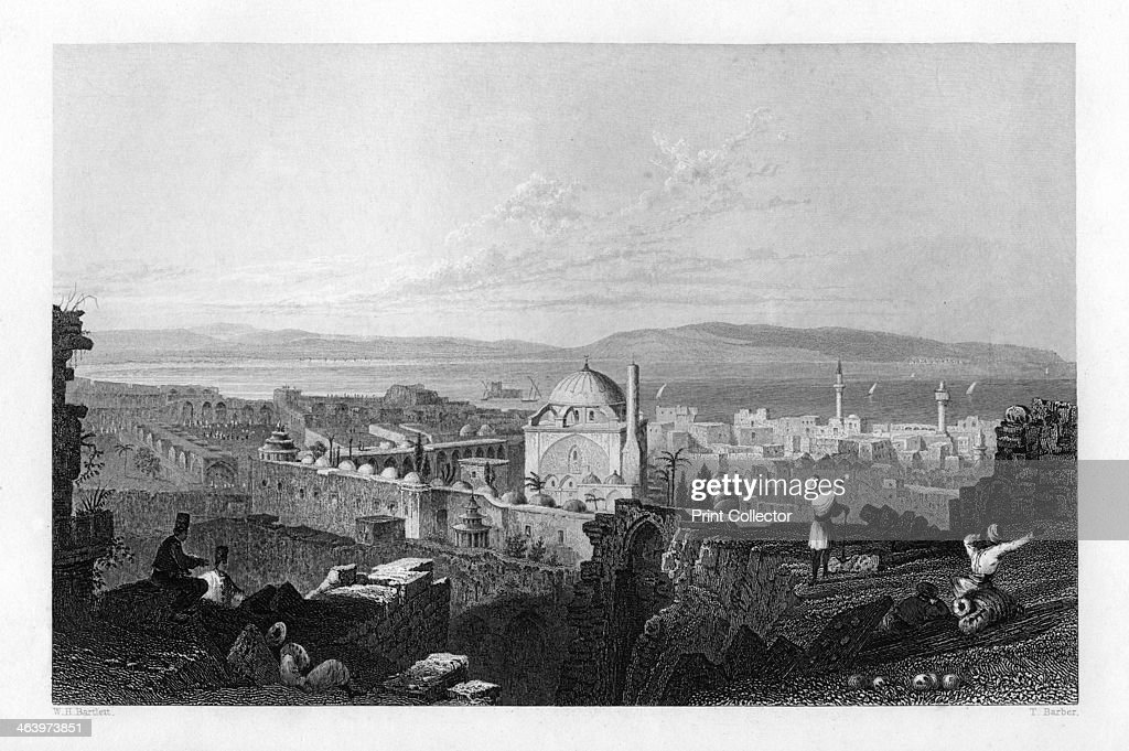 St Jean D'Acre Israel 1841 Mount Carmel can be seen in the distance From Syria the Holy land and Asia Minor volume I by John Carne published by...