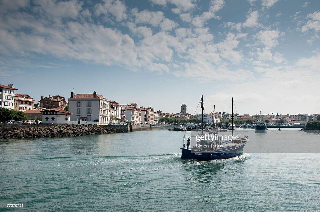 content st jean de luz france fishing boat returning to port
