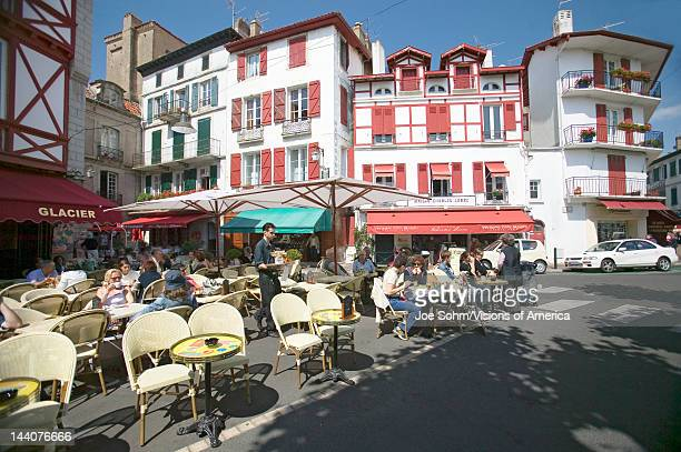 St Jean de Luz on the Cote Basque South West France a typical fishing village in the FrenchBasque region near the Spanish border shows the cute...