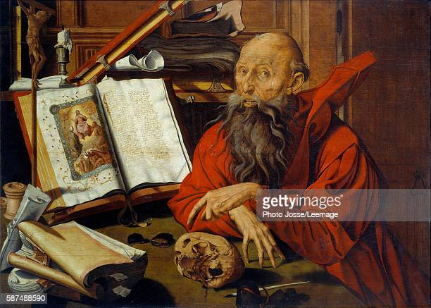 St Jerome meditating Painting by Marinus Claeszoon van Reymerswaele oil on wood 1540 Musee de la Chartreuse Douai France