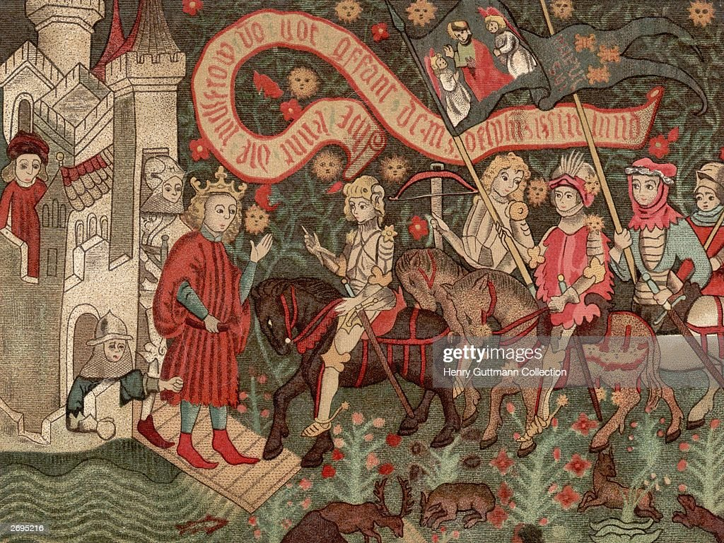 St Joan of Arc (1412 - 1431), known as the Maid of Orleans (centre) arrives at Chinon Castle to meet the dauphin during the Hundred Years' War,6th March 1429. Her inner voices moved her to ask the Dauphin to let her fight the English in 1428. She drove the English from Orleans in 1429, but was captured and executed for practicing witchcraft, proclaimed innocent in 1456 and canonized in 1920. Original Artwork: From a contemporary tapestry in Orleans.