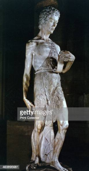 'St John the Baptist' c14201460 From the collection of The Museo Nazionale del Bargello Florence Italy