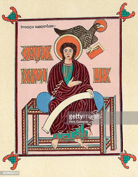 St John the Evangelist from the Lindisfarne Gospel Book c720 Produced at Lindisfarne England it is St Jerome's Latin version of the four Gospels made...
