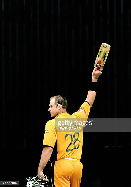 St John's ANTIGUA AND BARBUDA Australian cricketer Matthew Hayden acknowledges the crowd's applause as he leaves the field after being dismissed...