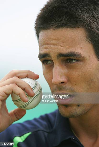 St John's ANTIGUA AND BARBUDA Australian fast bowler Mitchell Johnson prepares to bowl as he trains with teammates in Antigua 26 March 2007 Australia...