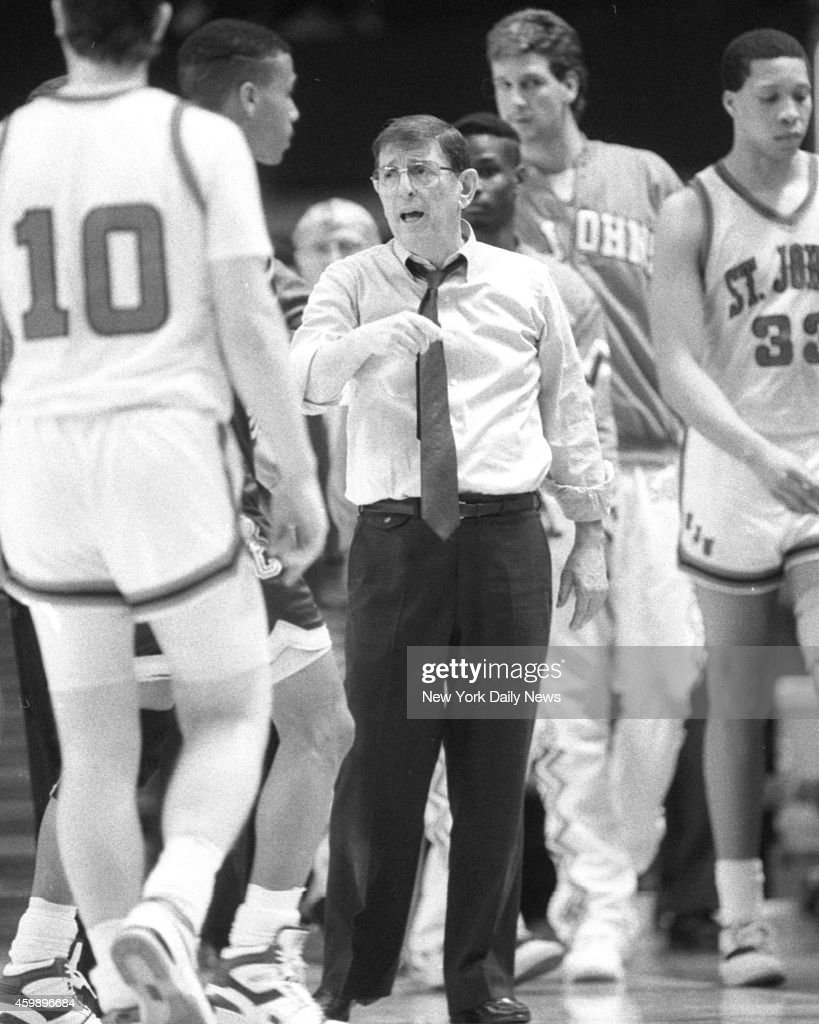 St John's coach Lou Carnesecca tries to rally troops in Big East Tournament's 89 game vs Boston College last night at Garden But Dana Barros scored...
