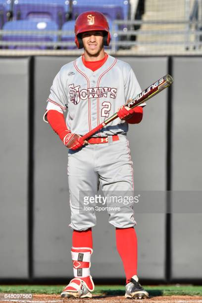 St John's infielder Jesse Berardi stands ion the batters box in a game between the St John's Red Storm and the East Carolina Pirates during the Keith...