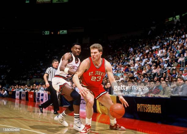 St John's Matt Brust drives the baseline during a game against the University of Connecticut Hartford CT 1990