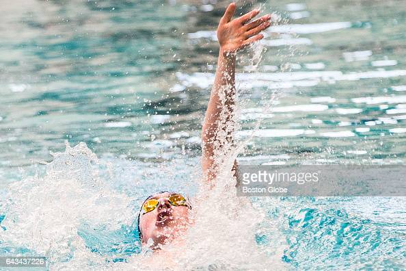 St John's Prep's Michael Xenakis swims in the 200 meter individual medley during the Winter Men's State Division 1 Championships at Boston University...