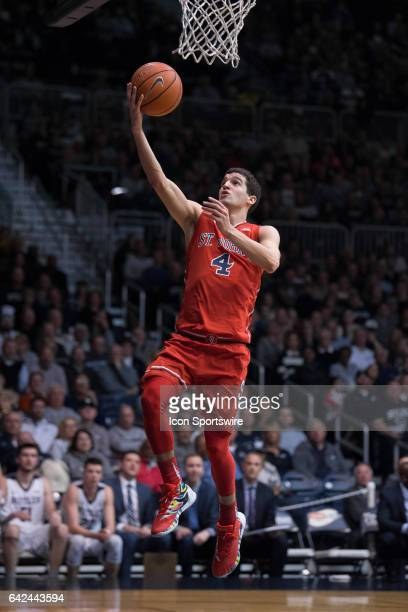 St John's Red Storm guard Federico Mussini scores on a fast break during the men's college basketball game between the Butler Bulldogs and St John's...