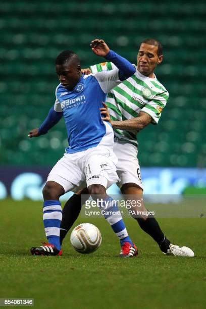 St Johnstone's Nigel Hasselbaink and Celtic's Kelvin Wilson