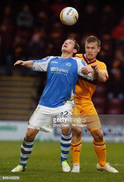St Johnstone's Peter Pawlett vies for the ball with Motherwell's Steven Hammell during the Clydesdale Bank Scottish Premier League match at Fir Park...