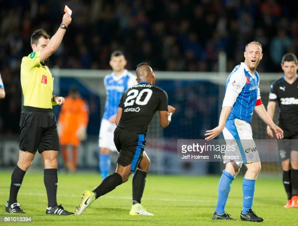 St Johnstone's Steven Anderson is sent off during the Ladbrokes Scottish Premiership match at McDiarmid Park Perth