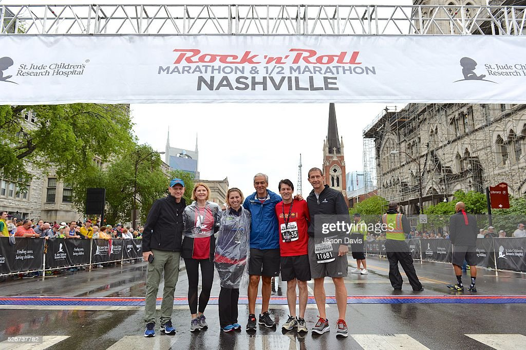 St. Jude Rock 'n' Roll Nashville Marathon/Half Marathon and 5k where more than 34,000 participants weathered the rain during the 17th running on April 30, 2016 in Nashville, Tennessee.