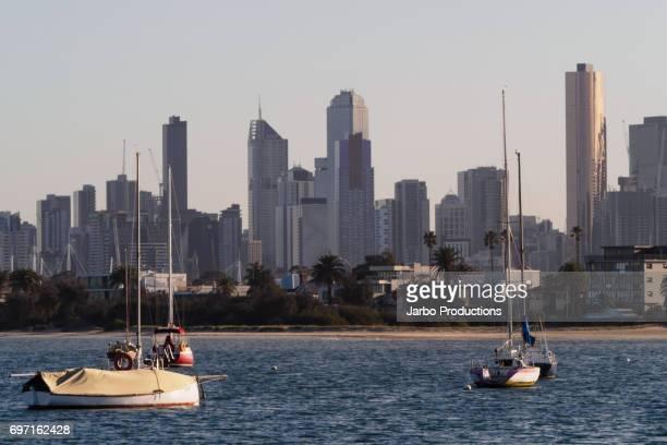 St Kilda Melbourne skyline with waterfront.