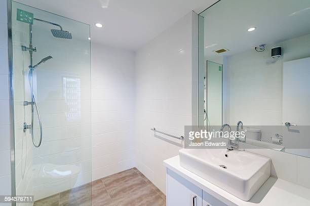 A modern bathroom wash basin and shower in an inner city apartment.
