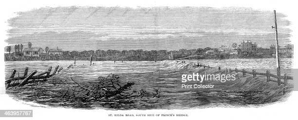St Kilda Road south side of Prince's Bridge Floods at Melbourne Australia 1864 A print from The Illustrated London News