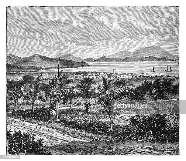 'St Kitts view taken from Nevis' c1890 From Universal Geography Maps Illustrations Vol XXXIV Virtue Co Limited