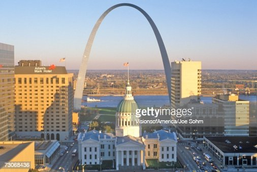 'St. Louis arch with Old Courthouse and Mississippi River, MO'