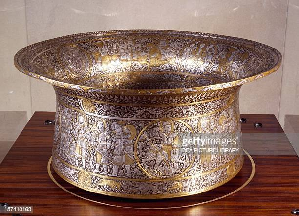 St Louis' basin or baptismal font signed Ibn Zayn brass silver and gold Egypt or Syria 13th century Paris Musée Du Louvre