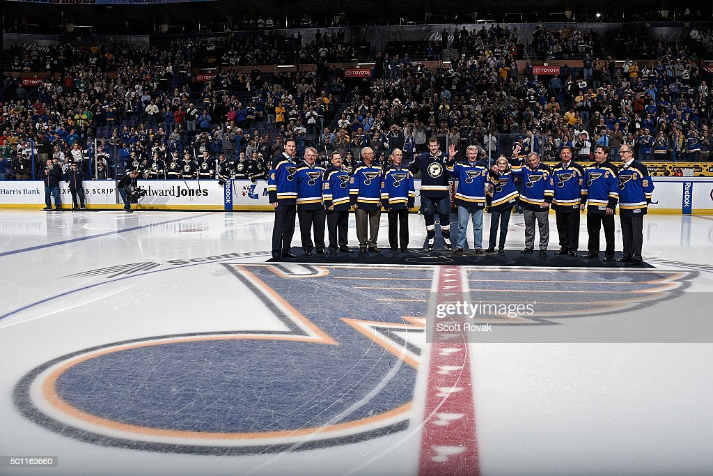 St. Louis Blues captains (L to R) <a gi-track='captionPersonalityLinkClicked' href=/galleries/search?phrase=Eric+Brewer&family=editorial&specificpeople=202144 ng-click='$event.stopPropagation()'>Eric Brewer</a>, <a gi-track='captionPersonalityLinkClicked' href=/galleries/search?phrase=Brett+Hull&family=editorial&specificpeople=202603 ng-click='$event.stopPropagation()'>Brett Hull</a>, Rick Meagher, Barry Gibbs, Frank St. Marseille, <a gi-track='captionPersonalityLinkClicked' href=/galleries/search?phrase=David+Backes&family=editorial&specificpeople=2538492 ng-click='$event.stopPropagation()'>David Backes</a>, Garry Unger, Helen Plager the widow of Barclay Plager, Bob Plager, Bernie Federko, Garth Butcher, and Al MacInnis are honored before a game against the Dallas Stars on December 12, 2015 at Scottrade Center in St. Louis, Missouri.