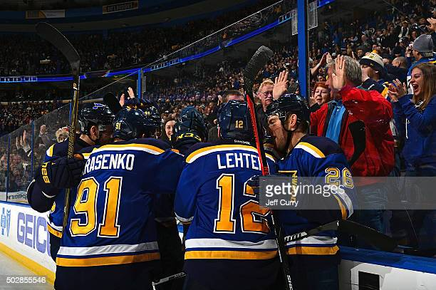 St Louis Blues celebrate after Alexander Steen scored the game winning goal in overtime against the Nashville Predators on December 29 2015 at...