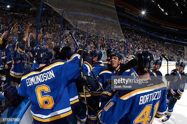 St Louis Blues celebrate after defeating the Los Angeles Kings in overtime at the Scottrade Center on February 18 2016 in St Louis Missouri