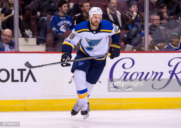 St Louis Blues Center Kyle Brodziak skates up ice during their NHL game against the Vancouver Canucks at Rogers Arena on November 18 2017 in...