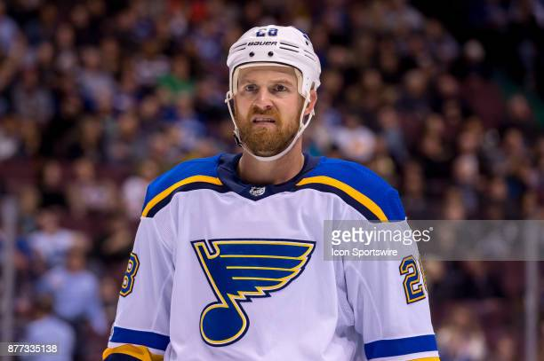 St Louis Blues Center Kyle Brodziak waits for a faceoff during their NHL game against the Vancouver Canucks at Rogers Arena on November 18 2017 in...