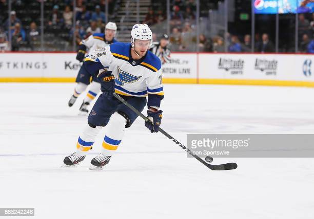 St Louis Blues center Vladimir Sobotka skates the puck into the zone during a regular season game between the Colorado Avalanche and the visiting St...