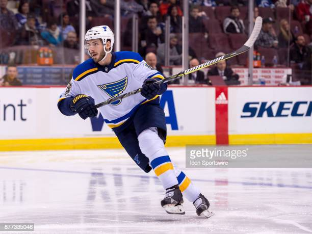 St Louis Blues Defenceman Joel Edmundson skates up ice during their NHL game against the Vancouver Canucks at Rogers Arena on November 18 2017 in...