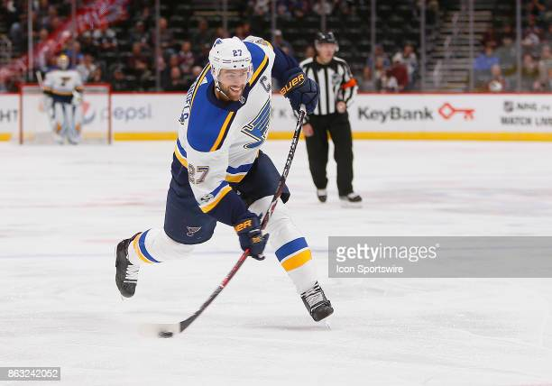 St Louis Blues defenseman Alex Pietrangelo takes a shot during a regular season game between the Colorado Avalanche and the visiting St Louis Blues...
