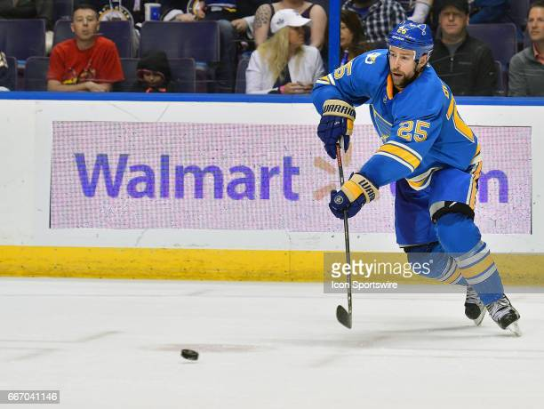 St Louis Blues defenseman Chris Butler passes the puck during an NHL game between the Colorado Avalanche and the St Louis Blues on April 09 at the...