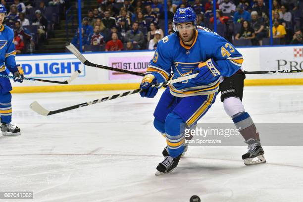 St Louis Blues defenseman Jordan Schmaltz goes after a loose puck during an NHL game between the Colorado Avalanche and the St Louis Blues on April...