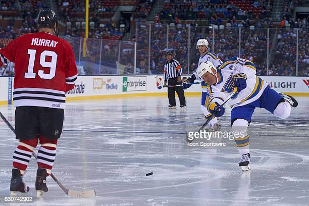 St Louis Blues Forward Brett Hull takes a shot on goal during a NHL Winter Classic Alumni hockey game between the St Louis Blues and the Chicago...